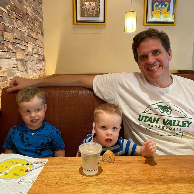 The two little men and I at CPK.  They are excited for their new little sister who is coming soon!  @hannahrmadsen